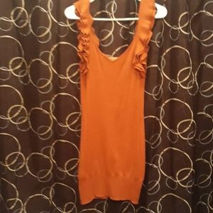 Burnt orange deep V neck ARDEN B dress with ruffle